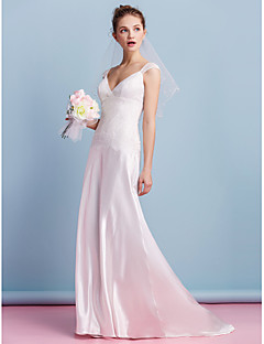 Lanting Sheath/Column Wedding Dress - Ivory Sweep/Brush Train V-neck Charmeuse