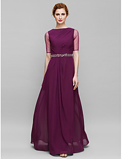 Lanting Bride® Sheath / Column Mother of the Bride Dress Floor-length Half Sleeve Chiffon / Tulle with Beading