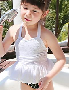 Girl's Solid Swimwear,Polyester / Nylon Summer Pink / White