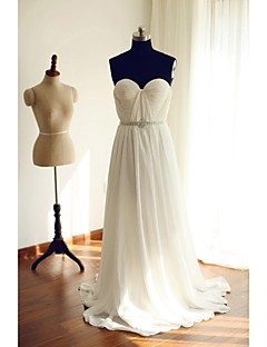 A-라인 웨딩 드레스 스윕 / 브러쉬 트레인 오프 더 숄더 쉬폰 와 비즈 / 장식주름 / 허리끈 / 리본