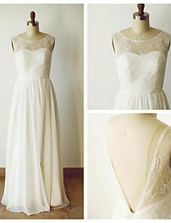 웨딩 드레스 - 아이보리(색상은 모니터에 따라 다를 수 있음) A 라인 바닥 길이 스쿱 쉬폰