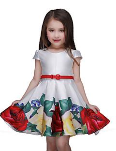 Bloemen -Polyester-Zomer-Girl's-Jurk-Meerkleurig