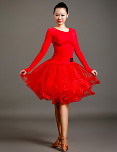 High-quality Velvet and Tulle with Draped Latin Dance Dresses for Women's Performance (More Colors)