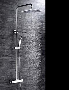コンテンポラリー シャワーシステム レインシャワー ハンドシャワーは含まれている サーモスタットタイプ with  セラミックバルブ 三つ 二つのハンドル三穴 for  クロム , シャワー水栓