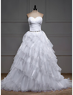 Ball Gown Wedding Dress - White Sweep/Brush Train Sweetheart Organza