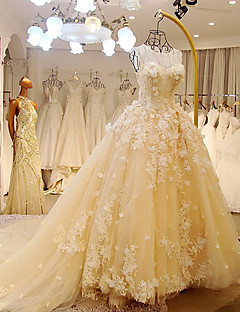 A-line Wedding Dress-Cathedral Train Scoop Tulle
