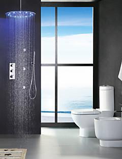Robinet de douche - Contemporain - LED / Thermostatique / Douche pluie / Widespary / Douchette inclue - Laiton ( Chromé )