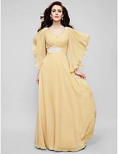 TS Couture® Formal Evening / Military Ball Dress - Gold Plus Sizes / Petite A-line / Princess V-neck Floor-length Chiffon