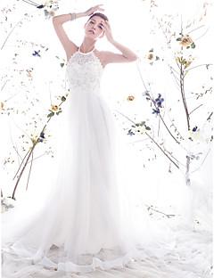 Lanting Bride® גזרת A / נסיכה קטן / מידה גדולה שמלת כלה - שיק ומודרני / זוהר ודרמטיות שובל כנסייה (צ'אפל) צווארון גבוה תחרה / אורגנזה עם