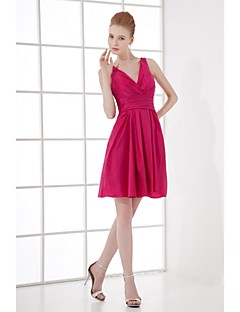 Lanting Bride® Short / Mini Taffeta Bridesmaid Dress - A-line V-neck with Side Draping
