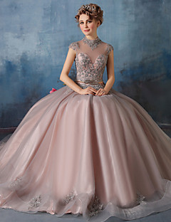 Formal Evening Dress Ball Gown High Neck Floor-length Lace / Tulle / Charmeuse with Beading / Lace / Sash / Ribbon / Sequins