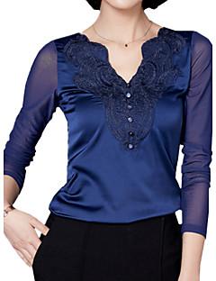 Tee-shirt Aux femmes,Couleur Pleine Décontracté / Quotidien simple Printemps Manches Longues Col en V Bleu / Rouge / Noir / GrisPolyester