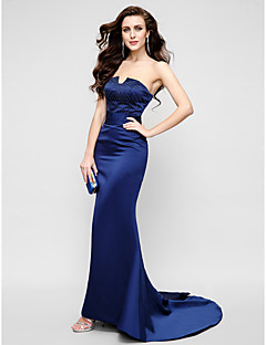 Formal Evening / Military Ball Dress - Plus Size / Petite Trumpet/Mermaid Strapless Sweep/Brush Train Satin