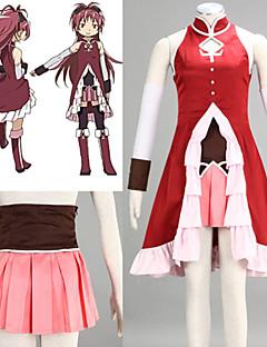 קיבל השראה מ Puella Magi Madoka Magica Kyoko Sakura אנימה תחפושות קוספליי חליפות קוספליי טלאים אדוםשיריון חזה / חצאית / שמלה / שרוולים /