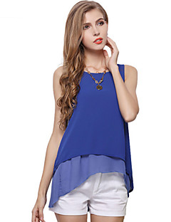 Women's Casual/Daily Simple / Street chic Summer T-shirt,Solid Round Neck Sleeveless Blue / White / Yellow Polyester Thin