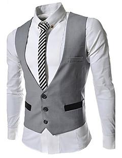 Herren Blazer-Einfarbig Büro Polyester Ärmellos Schwarz / Grau