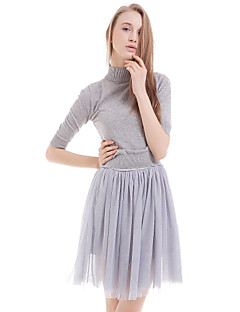 Women's Casual/Daily Loose Dress,Solid Round Neck Above Knee Short Sleeve Gray Polyester Summer