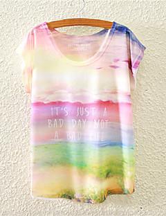 Blommig Kortärmad T-shirt Kvinnors Rund hals Bomull