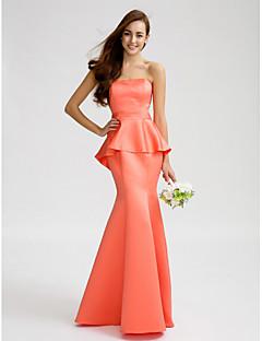 Lanting Bride® עד הריצפה סאטן שמלה לשושבינה - בתולת ים \ חצוצרה סטרפלס עם סרט