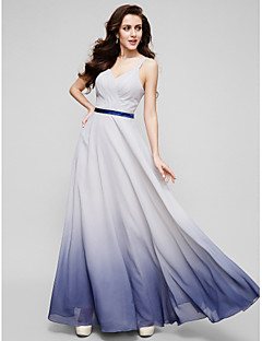 Formal Evening Dress - Multi-color A-line Straps Floor-length Chiffon