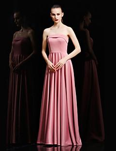 Kugle kjole stropløs gulvlængde satin formelle aften kjole med pletter