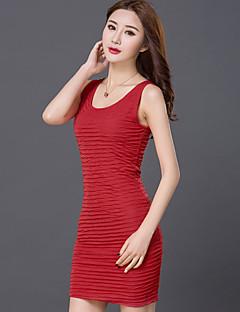 Feminino Tubinho Vestido,Casual Tamanhos Grandes Simples Moda de Rua Sólido Decote Redondo Acima do Joelho Sem Manga Algodão Poliéster