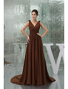 Lanting Cathedral Train Chiffon Bridesmaid Dress - Brown Ball Gown V-neck