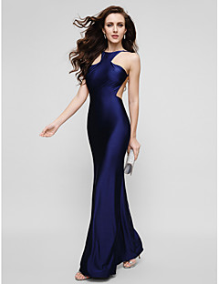 TS Couture Prom Formal Evening Dress - Beautiful Back Sheath / Column Jewel Floor-length Charmeuse with Pleats