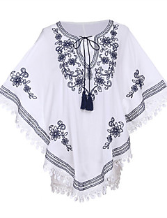 Women's Going out Street chic Lace Dress,Embroidered V Neck Above Knee Long Sleeve White Nylon Spring