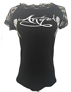 Women's Print White / Black T-shirt , Round Neck Short Sleeve