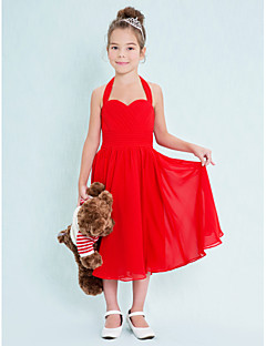 Tea-length Chiffon Junior Bridesmaid Dress A-line Halter with Criss Cross / Ruching