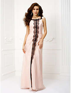 Formeller Abend/Ball/Militär Ball Kleid - Perlen Pink Chiffon - Meerjungfrau-Linie / Mermaid-Stil - bodenlang - U-Boot-Ausschnitt
