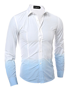 Men's Color Block Work / Formal Shirt,Cotton / Polyester Long Sleeve Blue / Green / Red