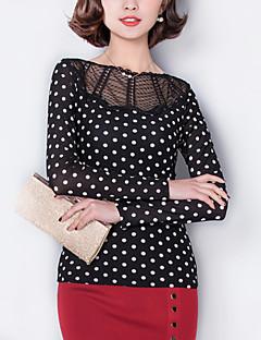 Women's Polka Dot Black Blouse,Sexy/Plus Size Cut Out Patchwork Mesh Elegant Boat Neck Nylon/Cotton
