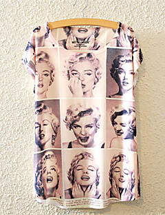 여성의 플로럴 라운드 넥 짧은 소매 티셔츠,귀여운 / 액티브 캐쥬얼/데일리 멀티 색상 면 사계절 중간