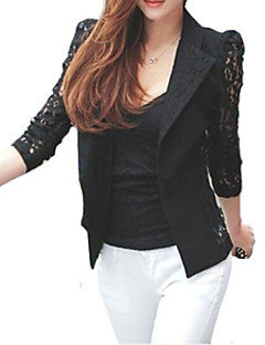 Women's Sexy Fall Blazer,Solid Notch Lapel Long Sleeve White / Black Cotton / Polyester / Nylon Thin