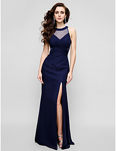 TS Couture® Formal Evening Dress - Dark Navy Plus Sizes / Petite Sheath/Column Jewel Floor-length Chiffon