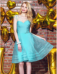 Lanting Bride® Knee-length Organza Bridesmaid Dress - A-line V-neck with Appliques / Beading / Buttons / Criss Cross / Ruching