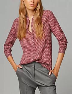 Opstaand-Katoen / Polyester-Siernagel-Vrouwen-Overhemd-Lange mouw