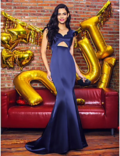 TS Couture® Formal Evening Dress Trumpet / Mermaid V-neck Sweep / Brush Train Satin with