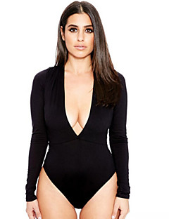 Women's Sexy Bodycon Deep V Neck Long Sleeve Bottoming Jumpsuit