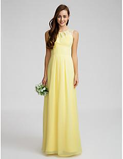 Lanting Bride® Floor-length Chiffon Bridesmaid Dress Sheath / Column Jewel with Lace