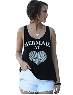 Women's Color Block Letter Casual Loose Fashion Round Neck Sleeveless Black Vest