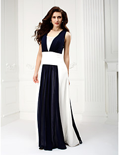 A-Line Square Neck Floor Length Chiffon Prom Formal Evening Dress with Draping by TS Couture®
