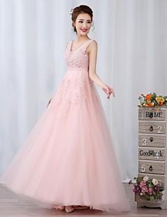 칵테일 파티 / 저녁 정장파티 드레스 - 실버 / 스카이 블루 / 캔디 핑크 A-라인 바닥 길이 V-넥 명주그물