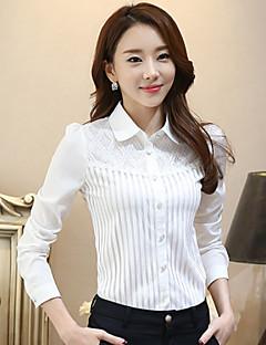 Enfärgad Långärmad Skjorta Kvinnors Tröjkrage Polyester