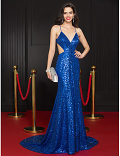 TS Couture® Formal Evening Dress Trumpet / Mermaid Spaghetti Straps Court Train Sequined with Sequins