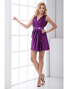 Lanting Short/Mini Taffeta Bridesmaid Dress - Grape Sheath/Column V-neck