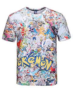 3d t-shirt pocket klein monster druk cosplay kostuums t-shirt geeky kleding ronde hals korte mouwen voor de man / vrouw