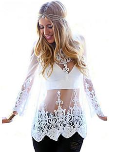 Blusa Da donna Spiaggia BohoRicamato Rotonda Rayon Bianco Manica lunga Trasparente